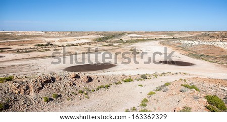 Coober Pedy golf courrse arid lunar landscape, Mad Max filmed here, tees are oiled sand - stock photo