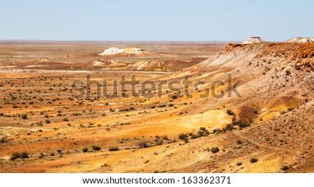 Coober Pedy Scene arid lunar landscape, Mad Max filmed here - stock photo