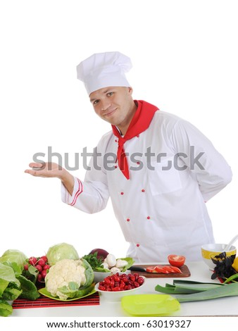 Cook at restaurant. Isolated on white background - stock photo