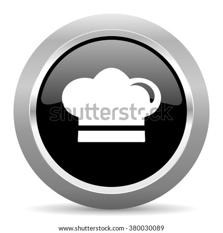 cook black metallic chrome web circle glossy icon