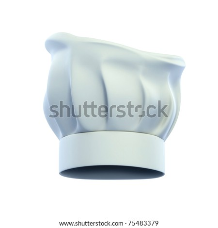 cook cap, chef's hat isolated on the white background 3d illustration - stock photo