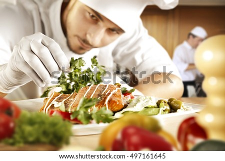 Salad ready be served chef ding stock photo 132559529 for Fresh chef kitchen