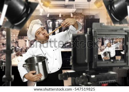 Cook chef in tv studio making program