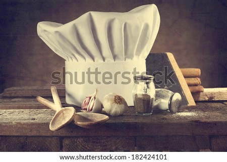cook hat and kitchen  - stock photo