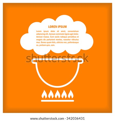 Cook Icon. Cauldron. Illustration with text place for signs, icons, logotypes, menu and recipes - stock photo