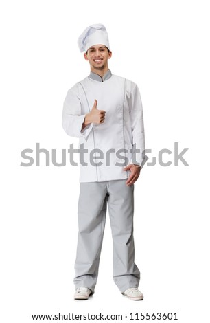 Cook in uniform thumbs up, isolated on white - stock photo