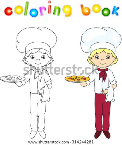 Cook or waiter in his uniform with cake and pizza. Coloring book. Game for children. illustration - stock photo