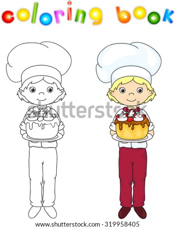 Cook or waiter in their uniform with sweet birthday cake. Coloring book. Game for children. illustration - stock photo