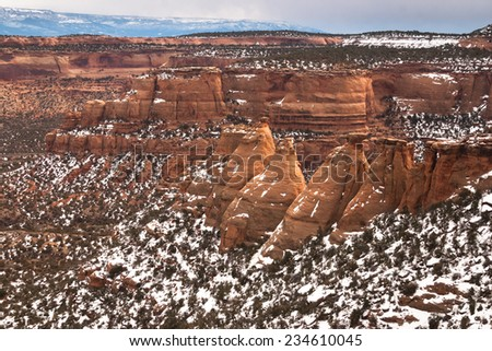 Cook Ovens sandstone formations in Colorado National Monument, Colorado, USA - stock photo