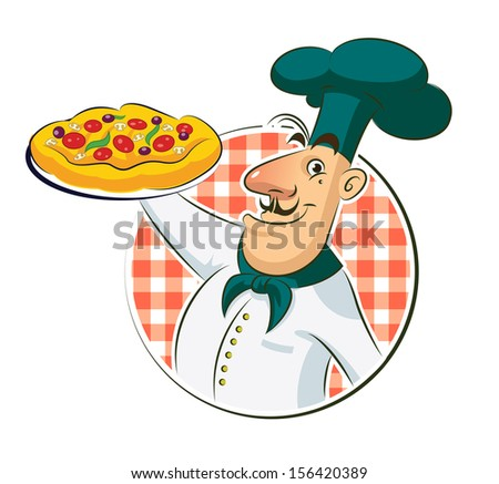 Cook Pizza. Illustration isolated on a white background