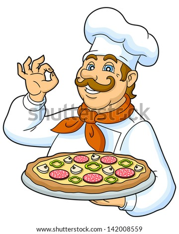 Cook pizza on a plate. Funny chef presenting a delicious pizza. Designed to decorate the restaurant menus. Raster version, vector file also included in the portfolio. - stock photo