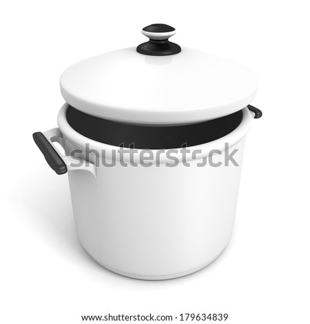 cook pot on white background - stock photo