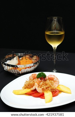 Cook Shrimp with Mango flesh and sauce, perfect with white wine, selective focus - stock photo