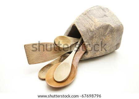 Cook spoon in stone pot