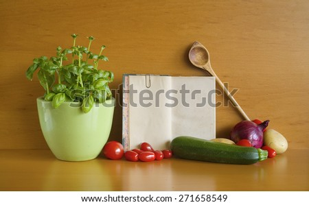 Cookbook and food ingredients, free copy space - stock photo