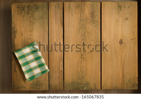 Cookbook background table/Cookbook background. Picnic table with plaid cloth. - stock photo