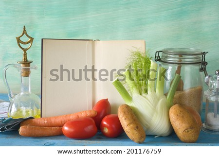 cookbook, food ingredients, kitchen utensils, free copy space  - stock photo