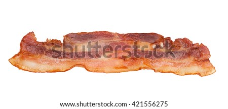 Cooked bacon isolated on a white background - stock photo
