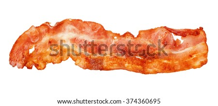 Cooked bacon strip close-up isolated on a white background. - stock photo