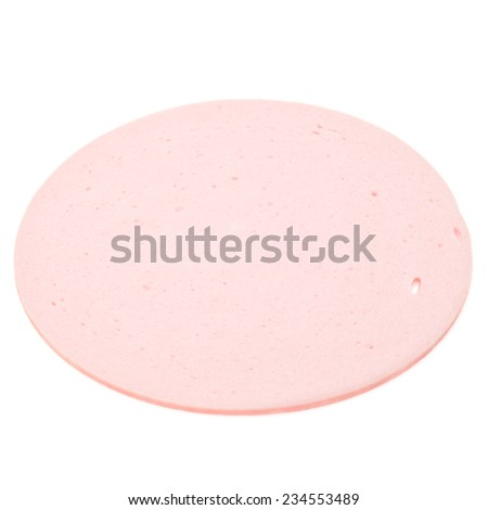 cooked boiled ham sausage or bologna slice isolated on white background cutout - stock photo