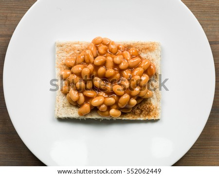 Cooked Breakfast or Snack of Baked Beans on Toast