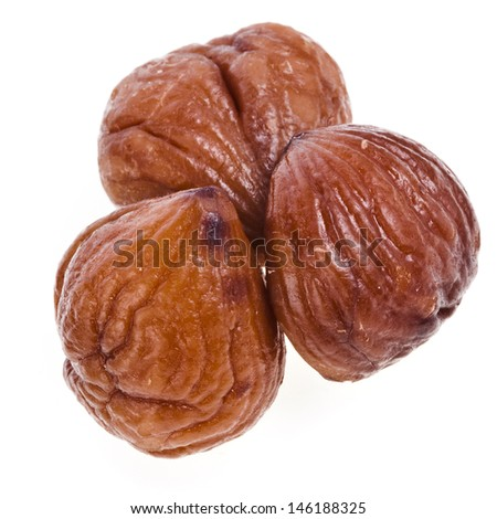 Cooked chestnut fruit close up isolated on white background  - stock photo