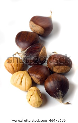 cooked chestnut fruit isolated on white background - stock photo