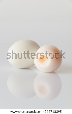 Cooked eggs on a white background - stock photo