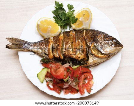Grilled fish stock images royalty free images vectors for Cooking temp for fish