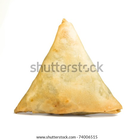 Cooked golden Samosa's from low perspective isolated on white.