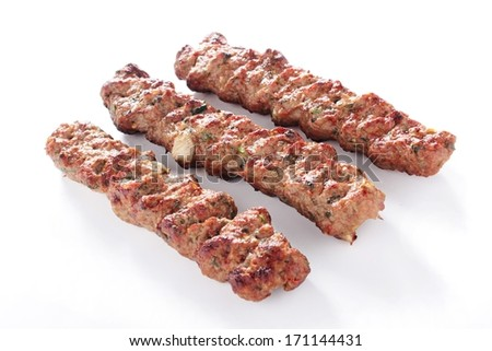 cooked indian lamb shish kofta kofte kebab isolatedon white - stock photo