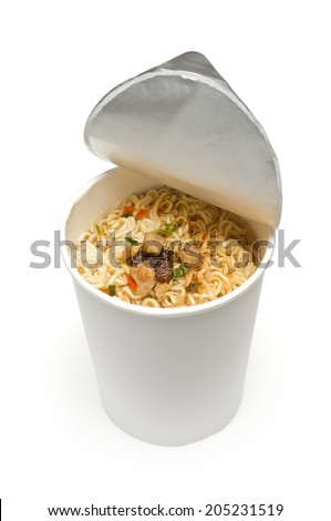 cooked instant cup noodle with ingredient on white background - stock photo