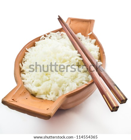 cooked Jasmine rice in bowl with chopstick isolated  on white background - stock photo