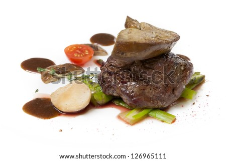cooked liver fattened goose or duck with mushrooms