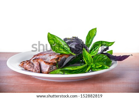 Cooked  meat steak  - stock photo