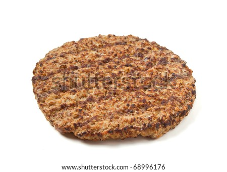 Cooked minced beef patty isolated on white background - stock photo