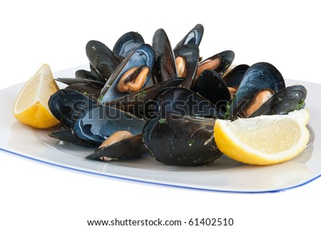 cooked mussels on a plate with lemon isolated with clipping path - stock photo