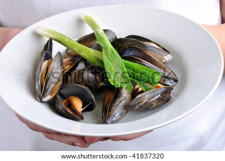 cooked organic mussel served on a white plate