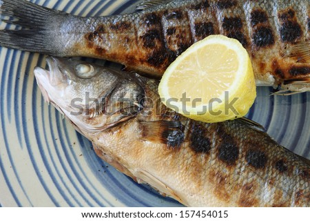 Cooked seabass - stock photo