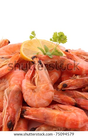 Cooked shrimp - stock photo