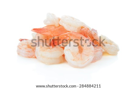 Cooked shrimps isolated on white background. - stock photo
