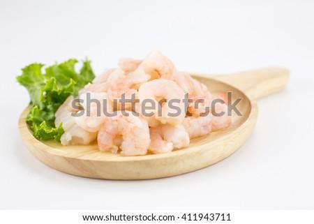 Cooked shrimps isolated on white background. - stock photo