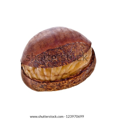 Cooked unpeeled chestnut fruit close up macro isolated on white background - stock photo