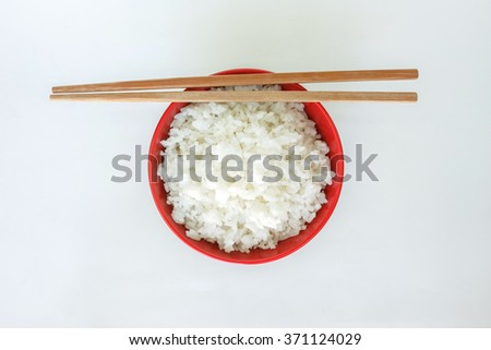 cooked white basmati rice  bowl natural food - stock photo