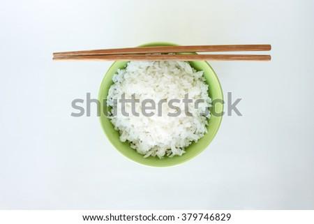 cooked white basmati rice  bowl natural food - stock photo