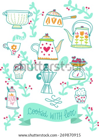 cooked with love illustration retro kitchen