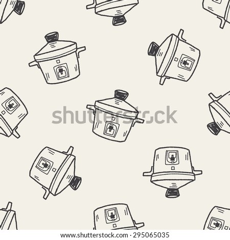 cooker doodle seamless pattern background