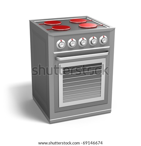 Cooker with owen isolated on white. My own design - stock photo