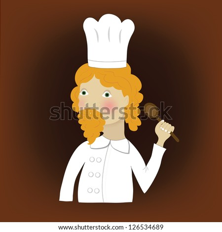 Cooker with spoon and orange hair and muustache - stock photo