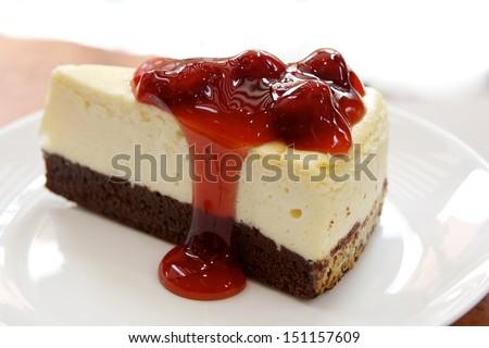 cookie cheese cake strawberry - stock photo